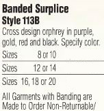 Abbey Brand Square Yoke Surplice - Item #113 - Starting at  Size & Fit Guide