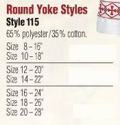 Abbey Brand Round Yoke Surplice - Item #115 - Starting at  Size & Fit Guide