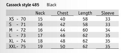 Slabbinck Brand Cassock in Black - Item # 485 Size & Fit Guide