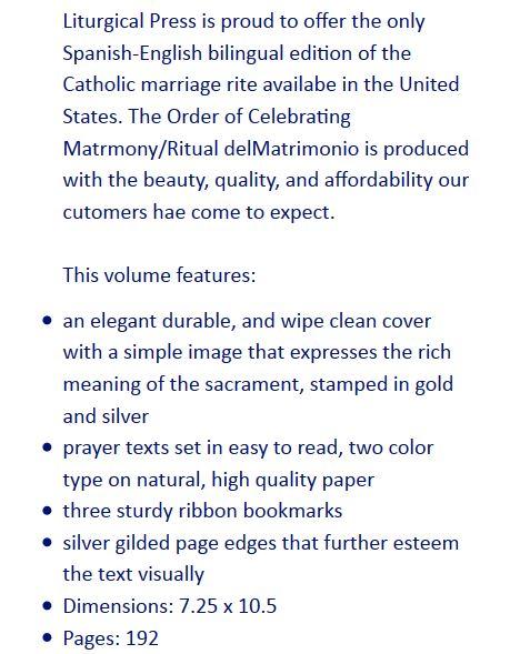 NEW Order of Celebrating Matrimony / Ritual del Matrimonio - Bilingual Size & Fit Guide