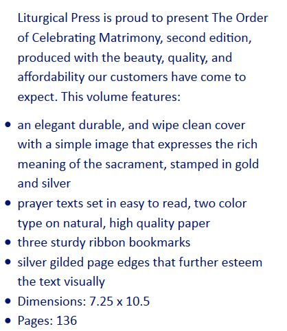 NEW Order of Celebrating Matrimony, Liturgical Press, Deluxe White Leather Ed. w. silver edges  Size & Fit Guide