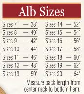 Abbey Brand Monastic Albs - Item # 211 - Starting at Size & Fit Guide