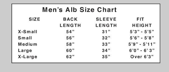 Beau Veste Brand Albs - Starting at Size & Fit Guide