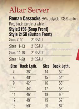 Abbey Brand Altar Server Roman Cassocks - Item #215S&U - Starting at Size & Fit Guide