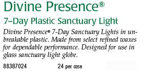 Cathedral Brand Divine Presence 7-Day Plastic Sanctuary Light Size & Fit Guide