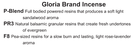 Gloria Brand Incense - Starting at Size & Fit Guide