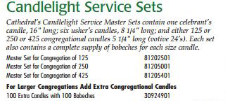 Cathedral Brand Candlelight Service Sets - Starting at Size & Fit Guide