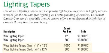 Cathedral Brand Lighting Tapers - Starting at Size & Fit Guide